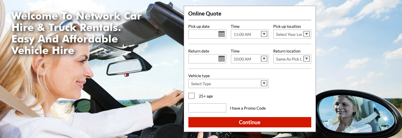 car rental web design quote