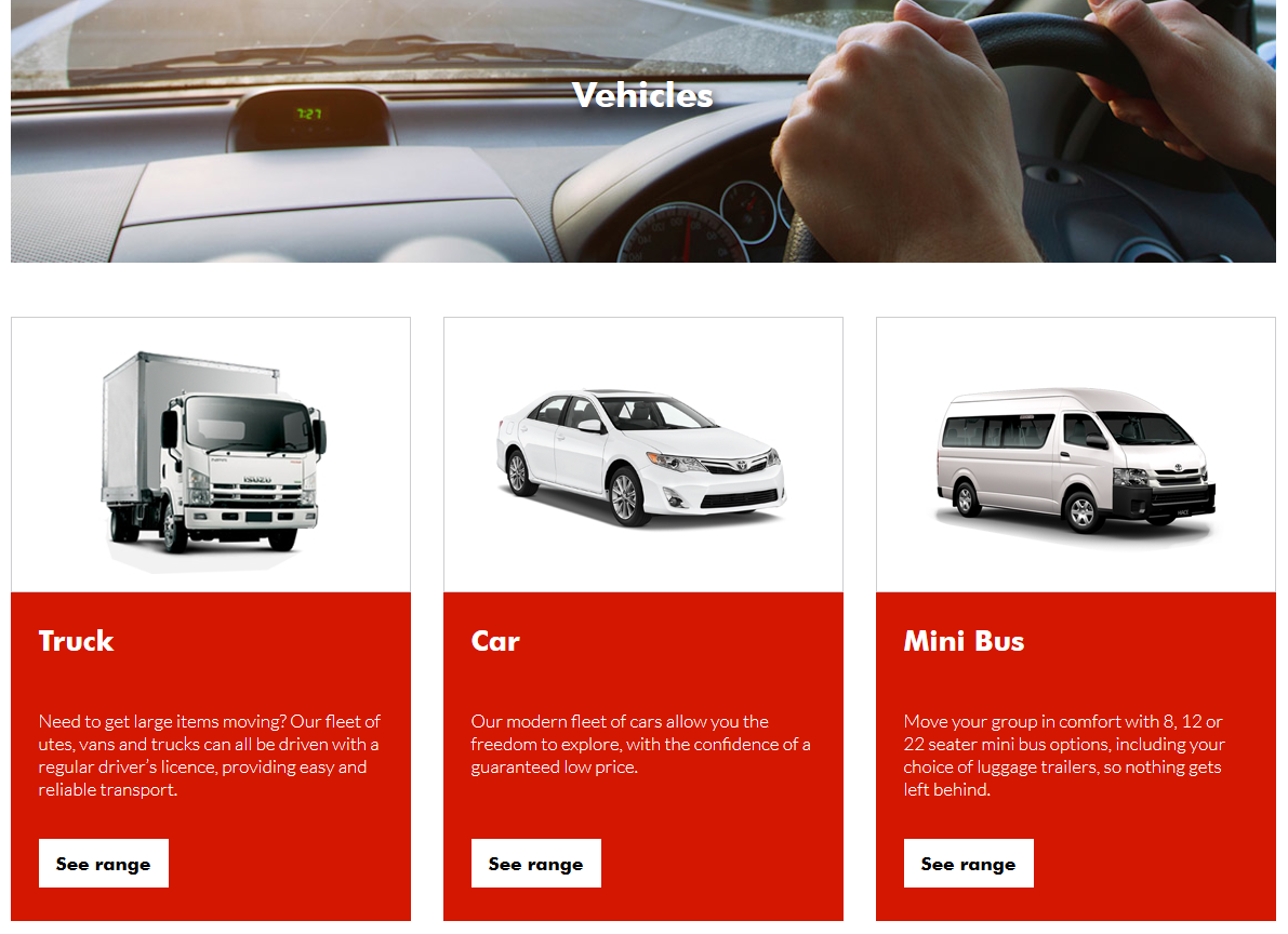 car rental web design vehicles